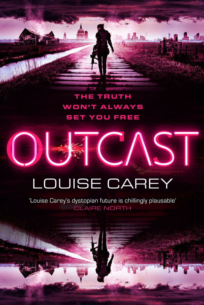 The front cover of Outcast by Louise Carey, the sequel to Inscape. The tagline reads: 'The truth won't always set you free'.